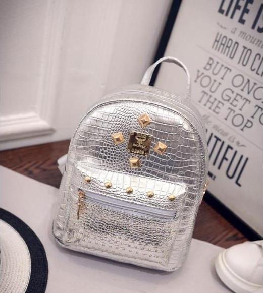 Мини рюкзак женский городской серебро