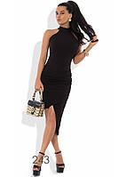 Облегающее черное платье миди из креп-дайвинга