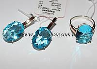 Серьги и кольцо с большими камнями Муза