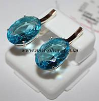 Серьги с голубым цирконом Муза, фото 1