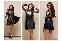 """Платье """"Шерра"""", низ платья экокожа, верх - пайетки. Разные размеры., фото 1"""