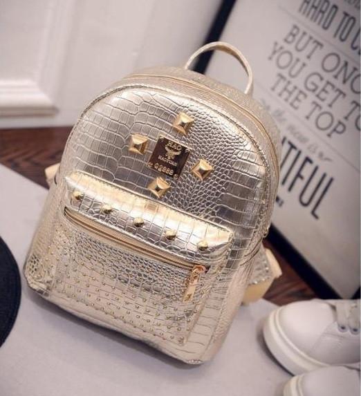 Мини рюкзак женский городской золотой