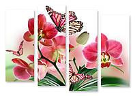 Модульная картина бабочки и орхидеи