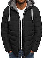Мужская демисезонная куртка с капюшоном черный 040, фото 1
