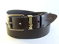 Ремень мужской кожаный GIORGIO ARMANI с классической пряжкой 4 см (темно коричневый) Итальянская кож
