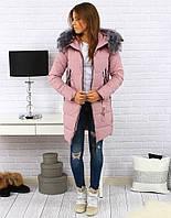 Женская зимняя куртка-пуховик с капюшоном Розовый