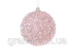 Набор ёлочных шаров, цвет: розовый 10 см, 12шт