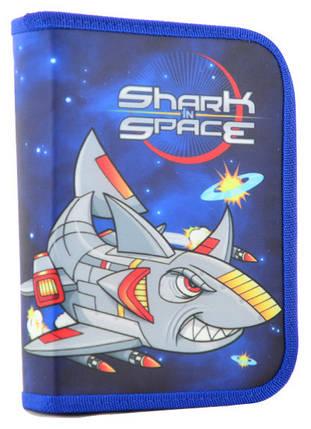 Пенал твердый одинарный с двумя клапанами Shark space 531734 1 Вересня, фото 2