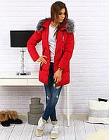 Женская зимняя куртка-пуховик с капюшоном