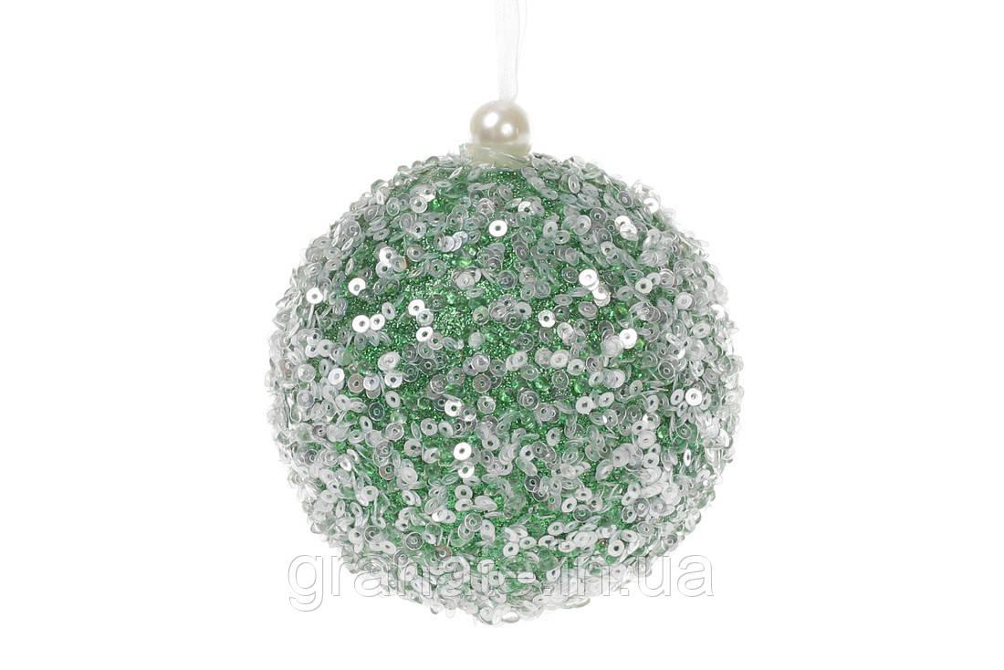 Набор ёлочных шаров, цвет: зелёный 8см (16шт)