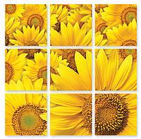 Модульная картина 3д желтые цветы