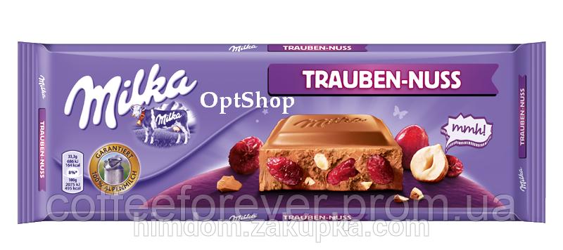 Шоколад Milka Trauben Nuss молочный цельный орех+изюм 300г , фото 2