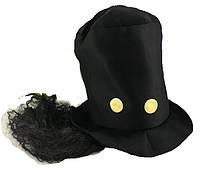 Шляпа цилиндр с волосами