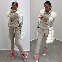 Костюм стильный женский теплый свитшот с воротником-хомут и брюки разные цвета Ddi696