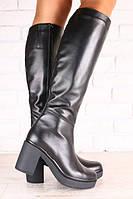 Зимние женские сапоги-европейка, кожаные