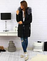Женская зимняя куртка-пуховик с капюшоном Чёрный с серой опушкой