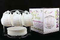 Чайный Сервиз Белый На Стойке 12 Предметов
