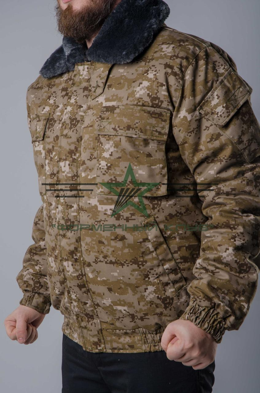 Куртка зимняя камуфляж с капюшоном диджетал дезерт
