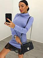 """Платье модное с кружевом и высоким воротником мини """"Жасмин"""" трикотаж ангора 3 цвета SMdi1837"""