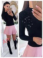 Стильный женский свитер (трикотаж ангора, длинные рукава, воротник гольф, декор пайетки и бусины)