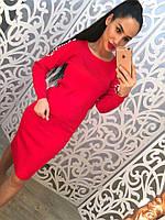 Модный женский костюм серый и красный. СД211