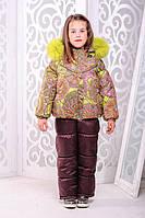 Зимний комплект «Девочка», лайм на девочку 5-6 лет (куртка + брюки; разм. 30 / 110-116 см) ТМ MANIFIK Лайм+бордовый