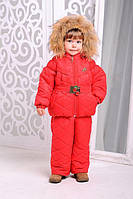Зимний комплект «Монклер» для девочки 2-6 лет (куртка + брюки; размер 24-30 / 92-116 см) ТМ MANIFIK Красный