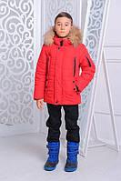 Зимняя утепленная куртка «Ден» для мальчика 7-14 лет (размер 32-46 / 122-164 см) ТМ MANIFIK Красный