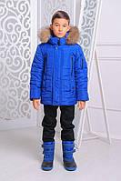 Зимняя утепленная куртка «Ден» для мальчика 7-14 лет (размер 32-46 / 122-164 см) ТМ MANIFIK Синий электрик
