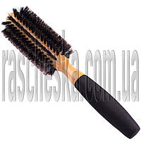 """Деревянная щетка для укладки волос """"Круглая + натуральная щетина"""" диаметр 50мм"""