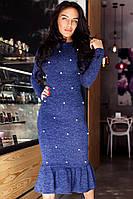 Платье модное миди с жемчугом и воланом по низу ангора меланж разные цвета SMdi1839