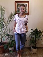 Пижама женская трикотажная  с бриджами