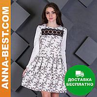 """Белое короткое платье с черными цветами """"Динара"""""""