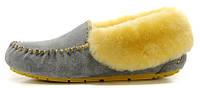 Женские зимние мокасины UGG Australia Grey/Yellow (Угги Австралия) с мехом серые с желтым