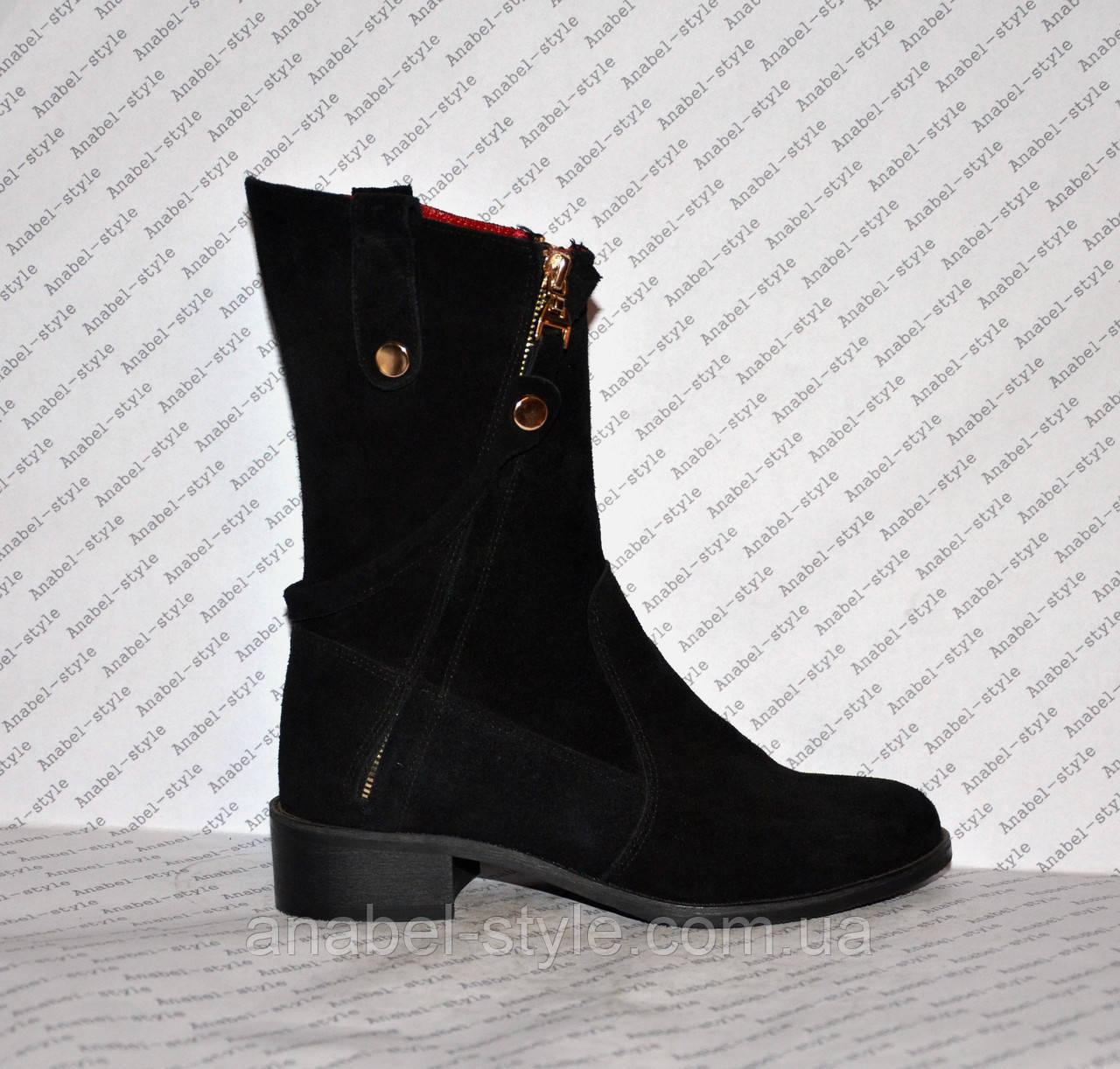 Півчобітки з натуральної замші чорного кольору стильна моделька Код 986