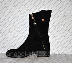 Півчобітки з натуральної замші чорного кольору стильна моделька Код 986, фото 2
