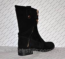 Півчобітки з натуральної замші чорного кольору стильна моделька Код 986, фото 3