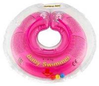 Круг на шею Baby Swimmer Classic с погремушками розовый