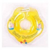 Круг на шею Baby Swimmer Classic с погремушками желтый