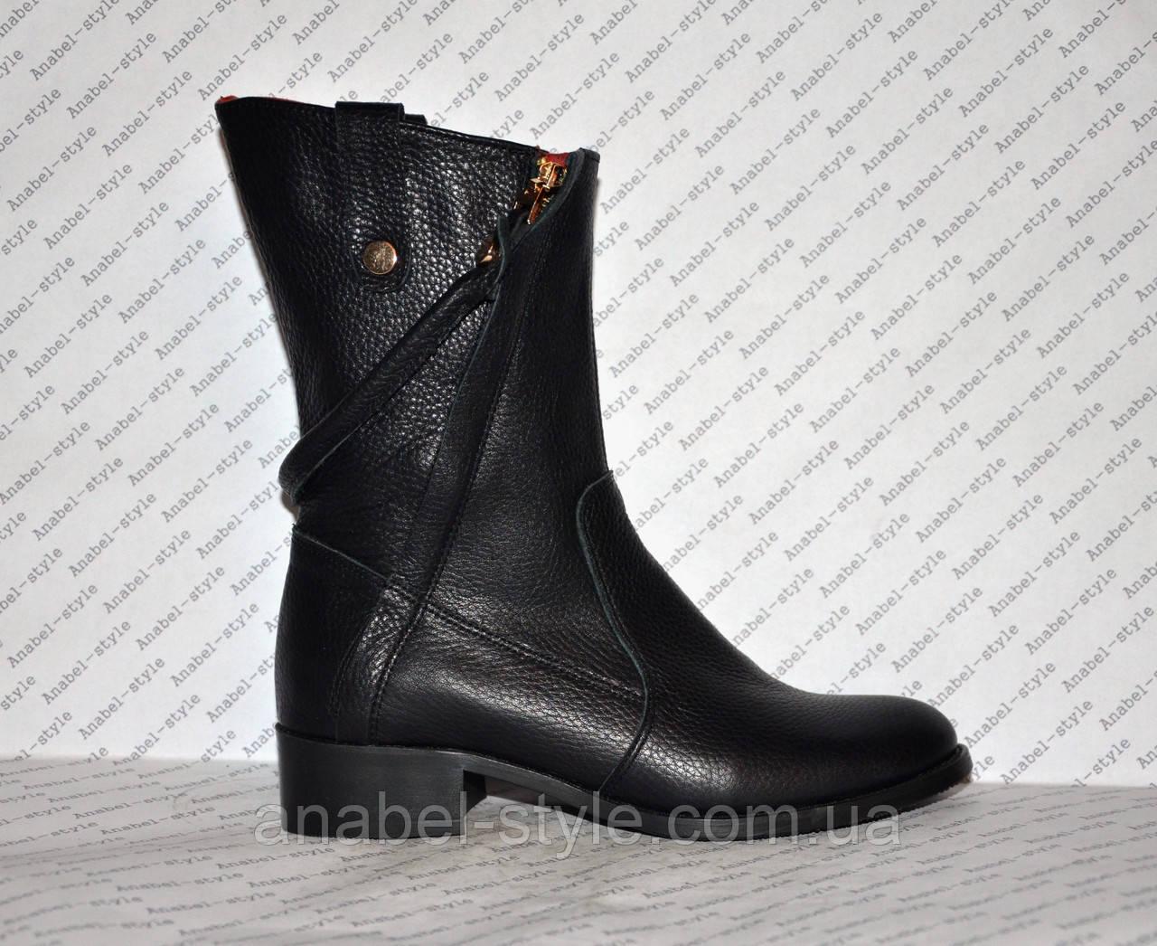 Чоботи зимові з натуральної шкіри чорного кольору Код 989