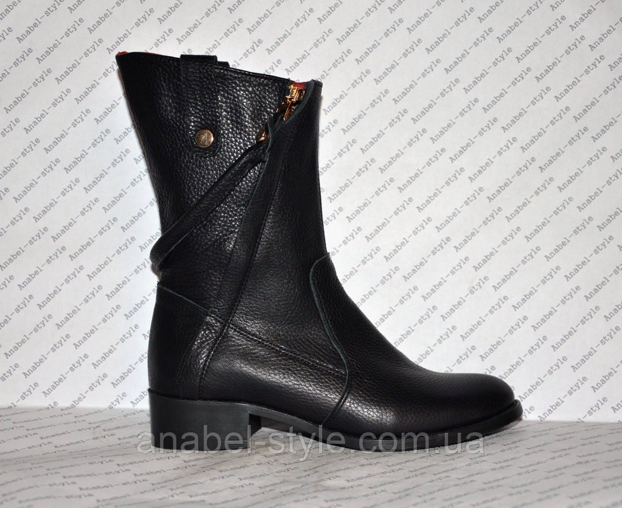 Півчобітки з натуральної шкіри чорного кольору стильна моделька Код 987