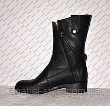 Чоботи зимові з натуральної шкіри чорного кольору Код 989, фото 2