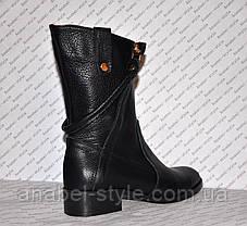 Чоботи зимові з натуральної шкіри чорного кольору Код 989, фото 3