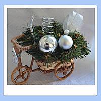 Композиция на 1 свечу Велосипед М серебро