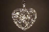 Елочное украшение Сердце 18см с LED-подсветкой (60 ламп), прозрачное стекло