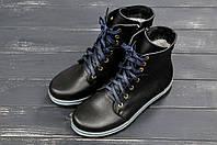 Зимние ботинки из натуральной кожи на шнурках и молнии