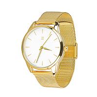 """Часы наручные """"Золотым по белому"""", браслет из нержавеющей стали, золотой"""