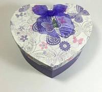 Подарочная коробка сердце бабочки с шифоновым бантом