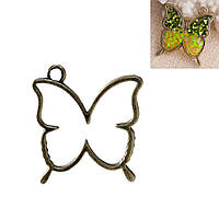 Рамка для подвески из эпоксидной смолы Бабочка, Цинковый сплав, Античная бронза, 33 мм x 30 мм