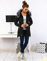 Женская зимняя куртка-пуховик асимметрично стеганая